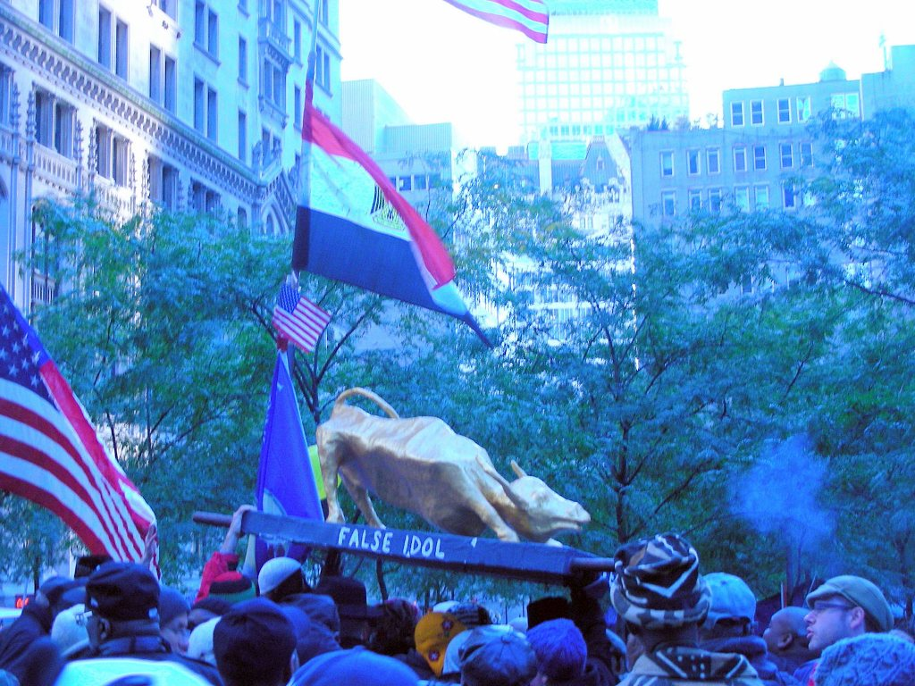 False Idol Golden Bull at Occupy Wall Street, New York