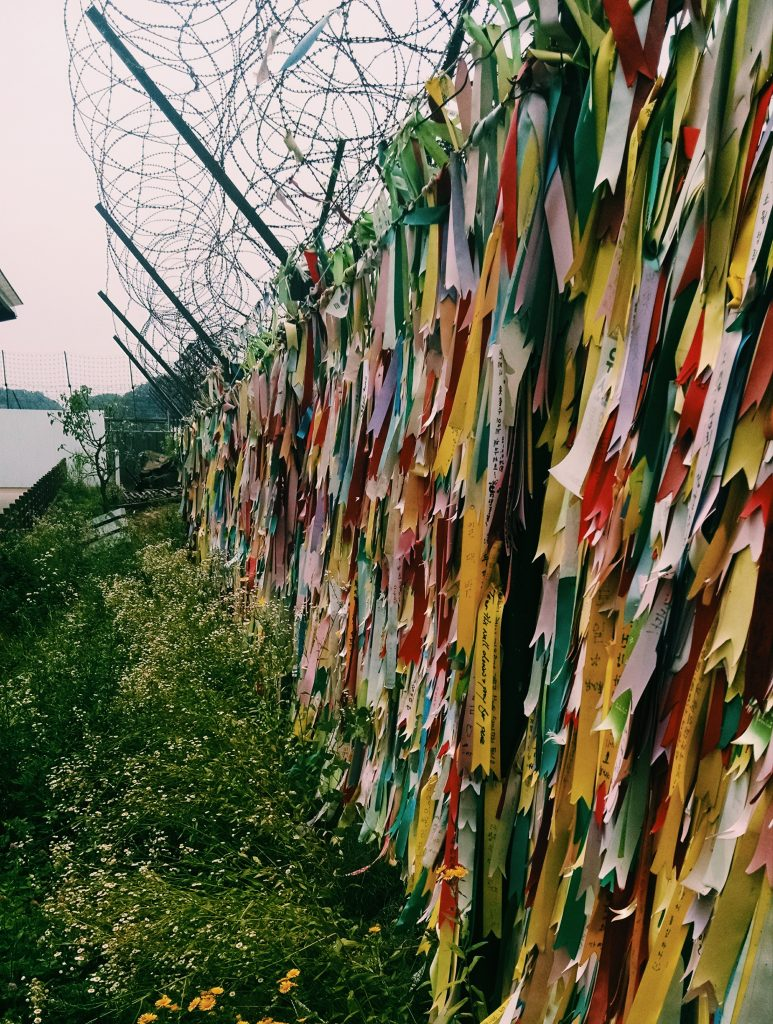 Prayer ribbons along the fence demarcating the DMZ