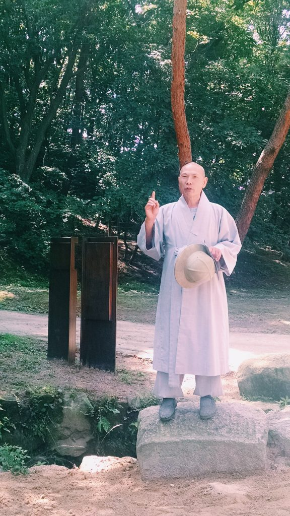 Venerable Jinwol offering us historical context and guidance on mindfulness as we visit the tombs of the nobility from the Joseon Dynasty