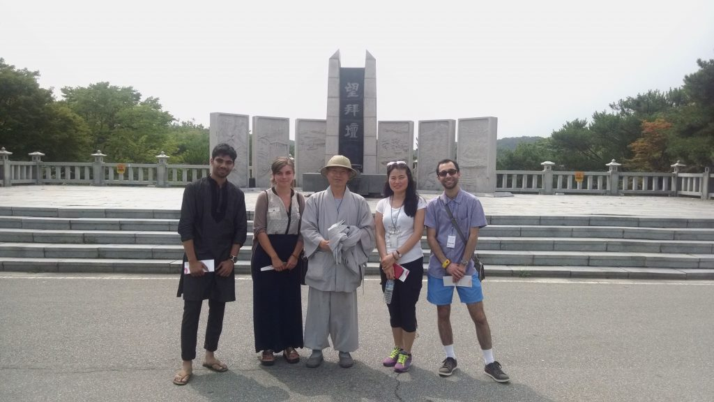 Sazzad from Bangladesh, myself, Ven. Jinwol, Hyanglae from Korea, and Daniel from Australia at a memorial at the DMZ.