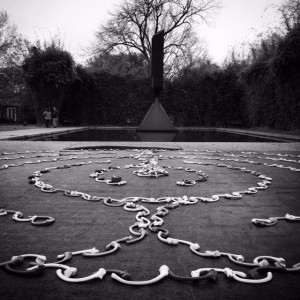 For International Women's Day, Rothko Chapel displayed a labryinth made from bent ceramic bones. Photo Credit: Eliza Pillsbury