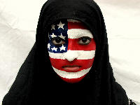 Muslim woman with American flag painted on face