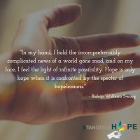 "#TangibleHope Diary Entry #1: ""Hope is only hope when…"" by Bishop William Swing, President and Founder of the United Religions Initiative"